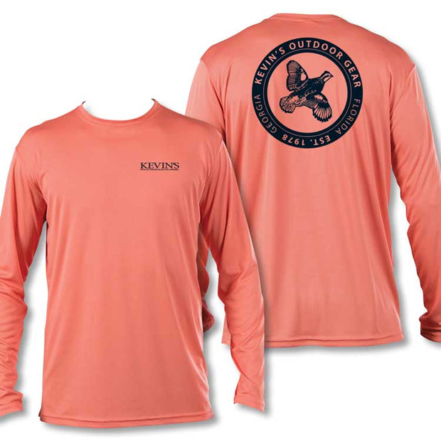 Kevin's Quail Logo Long Sleeve Performance T-Shirt-T-Shirts-Vapor Apparel-SALMON-2XL-Kevin's Fine Outdoor Gear & Apparel