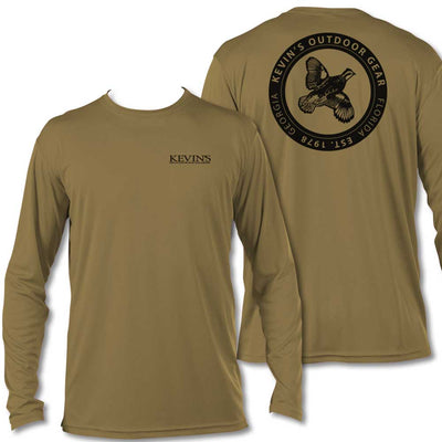 Kevin's Quail Logo Long Sleeve Performance T-Shirt-T-Shirts-COYOTE TAN-S-Kevin's Fine Outdoor Gear & Apparel