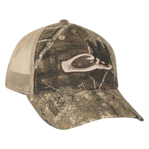 Drake Mesh Back 6-Panel Camo Logo Cap-MENS CLOTHING-DRAKE WATERFOWL SYSTEMS (Icon)-TIMBER-Kevin's Fine Outdoor Gear & Apparel