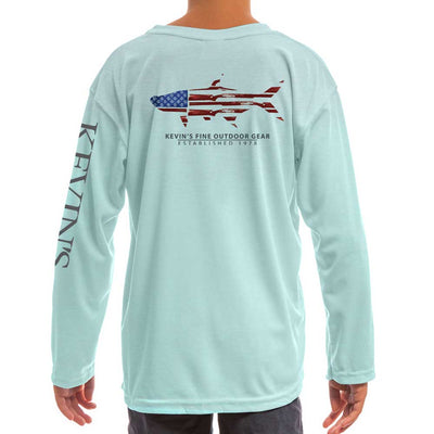 Kevin's Kids Soft-Tek Gun Flag Performance Shirt-CHILDRENS CLOTHING-Arctic Blue-XS-Kevin's Fine Outdoor Gear & Apparel