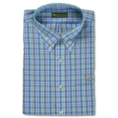 Kevin's Wrinkle Free Long Sleeve Pointer Dress Shirts-MENS CLOTHING-LIME TARTAN-M-Kevin's Fine Outdoor Gear & Apparel