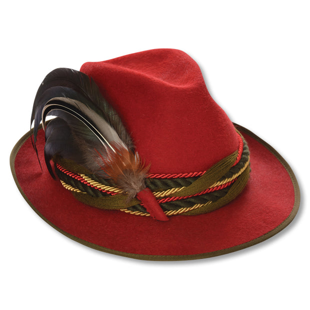 Kevin's Fur Felt Fedora with Feather-WOMENS CLOTHING-RED-L (58)-Kevin's Fine Outdoor Gear & Apparel