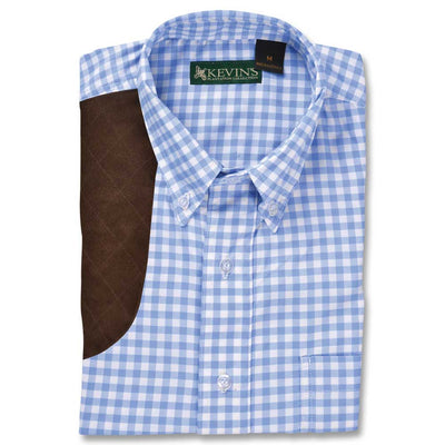 Kevin's BIG & TALL Performance Blue Gingham Right Hand Long Sleeve Shooting Shirt