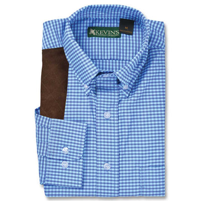 Kevin's BIG & TALL Performance Aqua / Blue Gingham Long Sleeve Right Hand Shooting Shirt