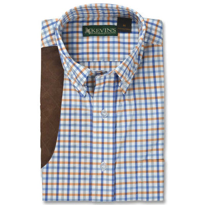 Kevin's Performance Orange/Blue Plaid Short Sleeve Shooting Shirt-MENS CLOTHING-Advantage Apparel-Kevin's Fine Outdoor Gear & Apparel