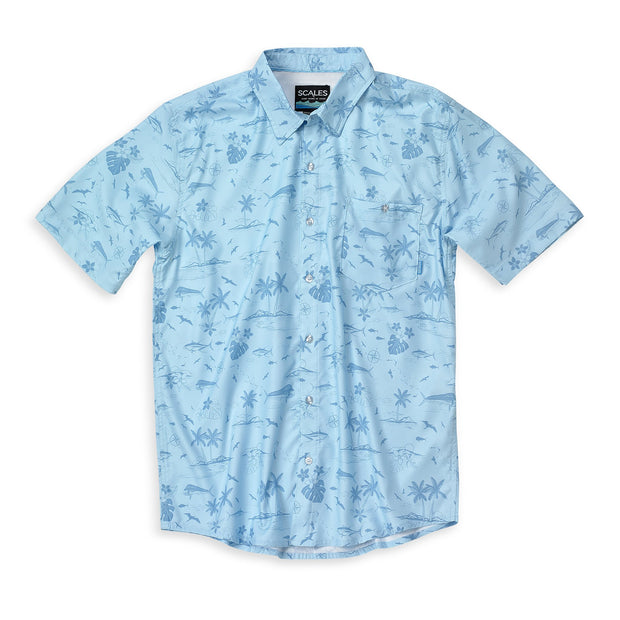 Scales Men's Tech Button Down Shirt-MENS CLOTHING-Light Blue-M-Kevin's Fine Outdoor Gear & Apparel