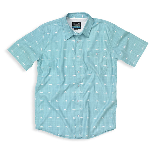Scales Men's Tech Button Down Shirt-MENS CLOTHING-Sea Foam-M-Kevin's Fine Outdoor Gear & Apparel