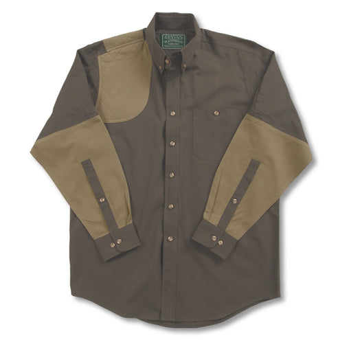 Kevin's Big & Tall Long Sleeve Right Hand Shooting Shirt in Dark Green/Khaki