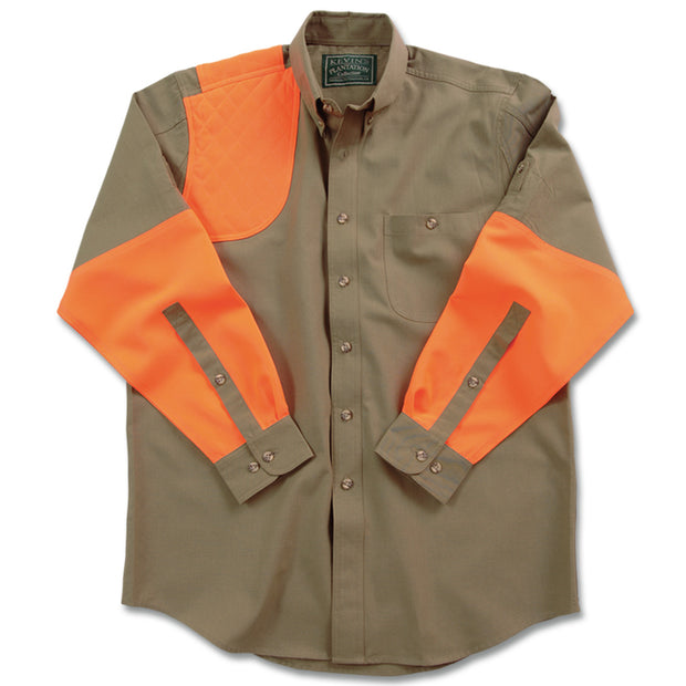 Kevin's Big & Tall Long Sleeve Right Hand Shooting Shirt in Khaki/Blaze