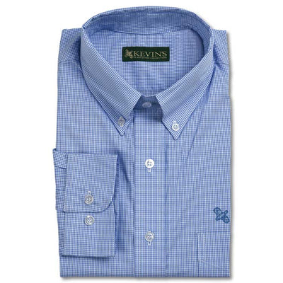 Kevin's Gingham Cotton-Stretch Dress Shirt with Quail Embroidery
