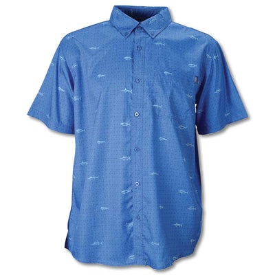 AFTCO Sidecaster Short Sleeve Shirt-MENS CLOTHING-Vivid Blue-S-Kevin's Fine Outdoor Gear & Apparel
