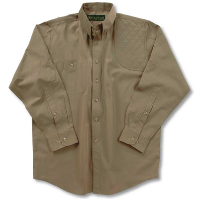 Big and Tall Left Hand Long Sleeve Performance Shooting Shirt-HUNTING/OUTDOORS-SOLID KHAKI-LT-Kevin's Fine Outdoor Gear & Apparel