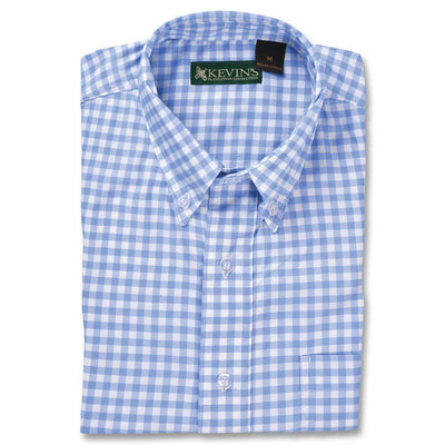 Kevin's Performance Short Sleeve Fishing Shirt in Blue Gingham-MENS CLOTHING-Advantage Apparel-Kevin's Fine Outdoor Gear & Apparel