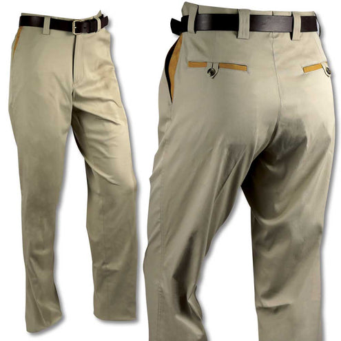 Kevin's Stretch Poplin Pant with Faux Leather Trim