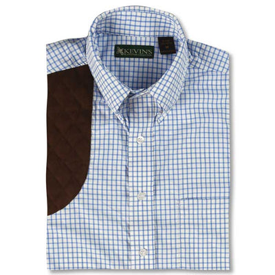 Kevin's Big & Tall Blue Performance Tattersall Shooting Shirt