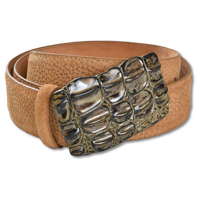 "1 1/2"" Pebbled Suede Croc Buckle Belt-Women's Accessories-XS-Kevin's Fine Outdoor Gear & Apparel"