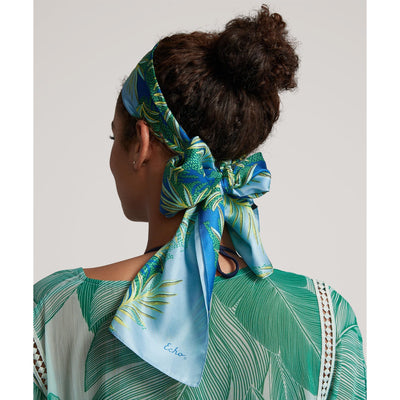 Women's Color Block Palm Silk Oblong Scarf-Women's Accessories-Sea Blue-Kevin's Fine Outdoor Gear & Apparel