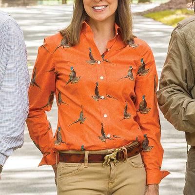 Kevin's Ladies Orange Pheasant Shirt-WOMENS CLOTHING-Kevin's Fine Outdoor Gear & Apparel