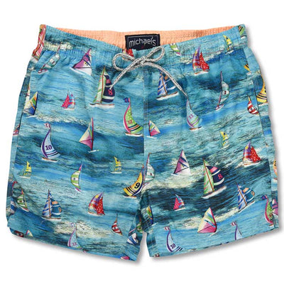 Aqua Men's Swim Trunk - Sailboats