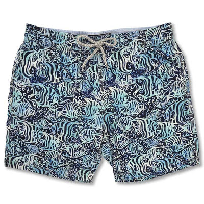 Men's Swim Trunk - Navy FISH BATIK