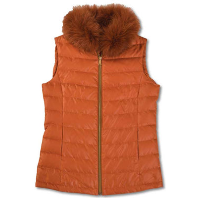 Puffer Vest with Detachable Fox Collar