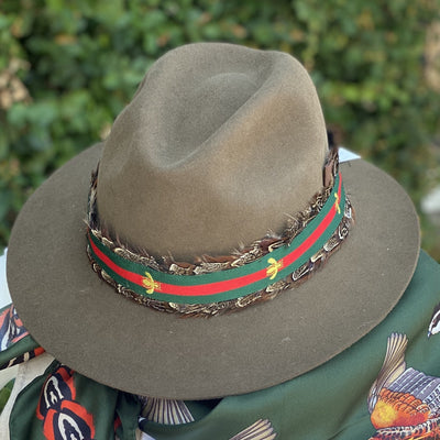 Kevin's Pheasant Feather and Bee Stripe Hat Band-Women's Accessories-Kevin's Fine Outdoor Gear & Apparel