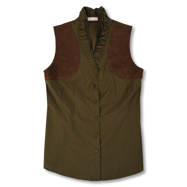 Olive Kevin's Huntress Sleeveless Ruffle Shooting Blouse