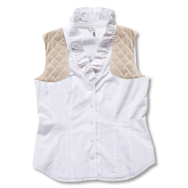 white  Kevin's Huntress Sleeveless Ruffle Shooting Blouse