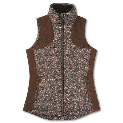 Kevin's Huntress Ladies Feather Print Vest with Patch