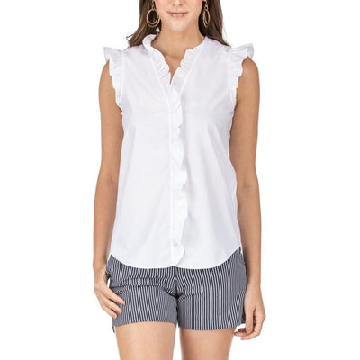 Women's Ruffle V-Neck Sleeveless Blouse-WOMENS CLOTHING-White-XS-Kevin's Fine Outdoor Gear & Apparel