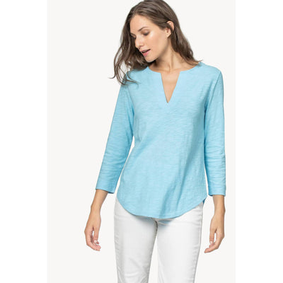 Women's 3/4 Sleeve Split Neck Tunic Top-WOMENS CLOTHING-Kevin's Fine Outdoor Gear & Apparel