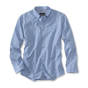Orvis Chambray Long Sleeve Work Shirt 18Z9-MENS CLOTHING-M-MEDIUM BLUE-Kevin's Fine Outdoor Gear & Apparel