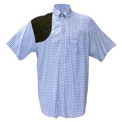 Kevin's Performance Blue Gingham Short Sleeve Right Hand Shooting Shirt-MENS CLOTHING-Kevin's Fine Outdoor Gear & Apparel
