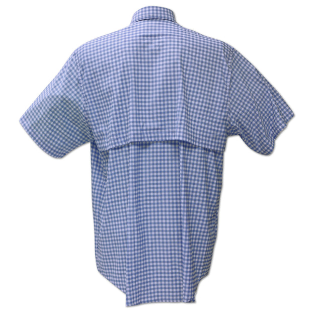 Kevin's Performance Short Sleeve Fishing Shirt in Blue Gingham-MENS CLOTHING-Kevin's Fine Outdoor Gear & Apparel