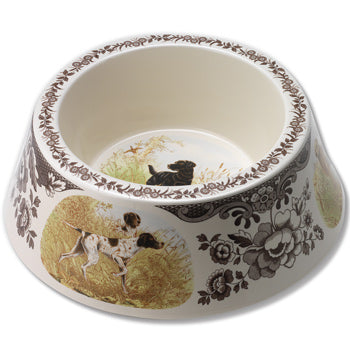 "Spode Woodland Dog Bowl - All Dogs 3.5""H x 9.5""D"