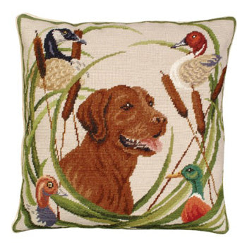 Sporting Chocolate Lab Pillow 18 x 18