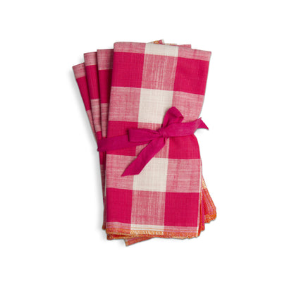 Gingham Napkin Set of 4-HOME/GIFTWARE-Pink-Kevin's Fine Outdoor Gear & Apparel