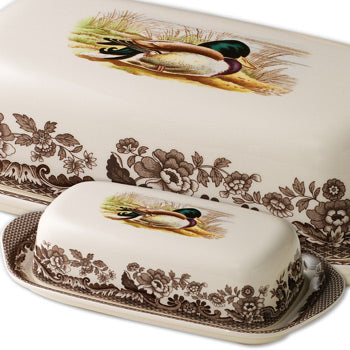 "Spode Woodland Covered Butter Dish - Mallard 8"" x 4"""
