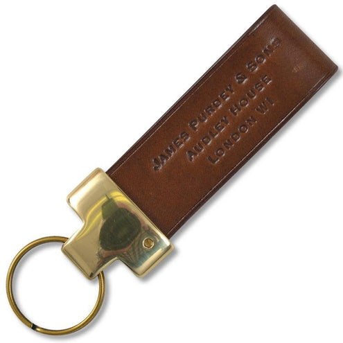 Purdey Key Fob Brass Oak Bark Leather