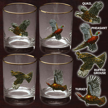 Upland Gamebirds 14 oz Double Old Fashioned Set of 4