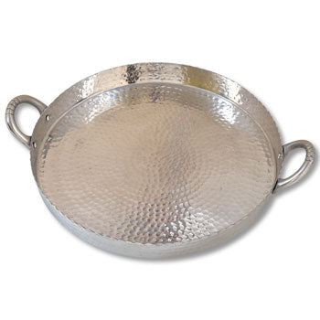 Hammered Round Scalloped Tray 21""