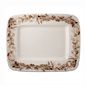 "Game China Rectangular Platter Foliage 14""x17 3/4"""