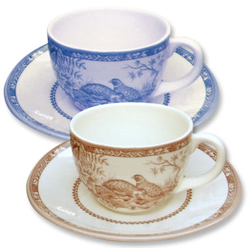 New Shape & Pattern! Quail China Teacup & Saucer