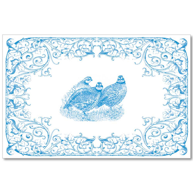 Kevin's Linen Placemats in Sporting Themes-HOME/GIFTWARE-Maison De Papier-BLUE QUAIL-Kevin's Fine Outdoor Gear & Apparel