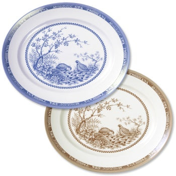 "Blue & Brown Quail China 12"" Oval Platter"