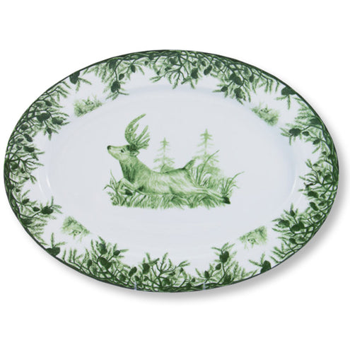 Green Deer Large Oval Platter