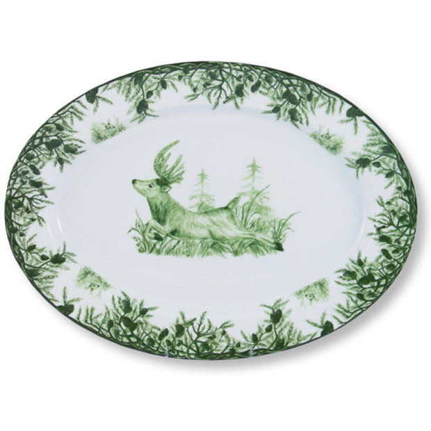 CE Corey Green Deer Large Oval Platter