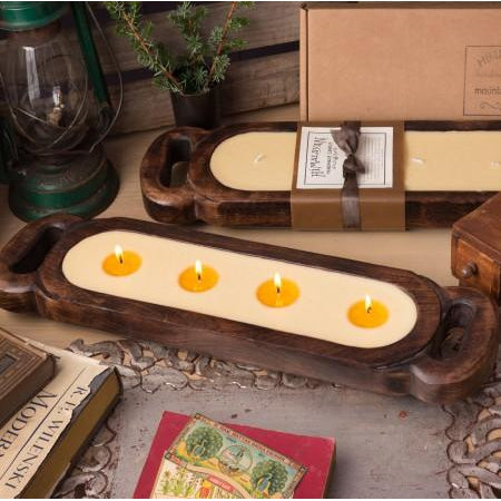 Wood Tray Candle-HOME/GIFTWARE-HIMALAYAN HANDMADE CANDLES-RED CURRANT-Kevin's Fine Outdoor Gear & Apparel