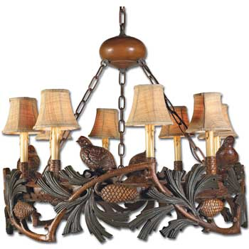 Quail and Pine Cone Chandelier
