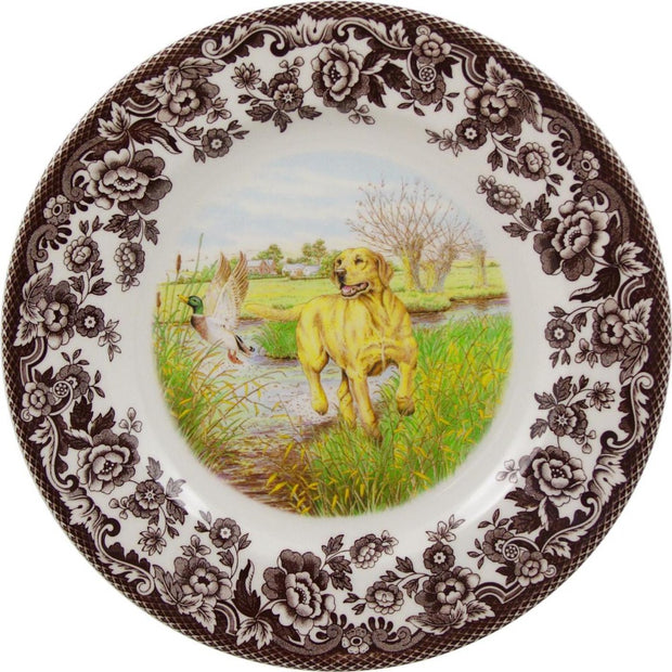 "Spode Woodland Hunting Dog Salad Plate 8""-HOME/GIFTWARE-YELLOW LAB-Kevin's Fine Outdoor Gear & Apparel"